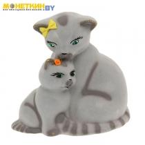 Копилка «Кошка с котенком» серый