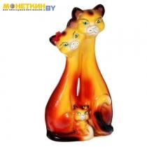 Копилка «Семья котов» большая глянец оранжевый