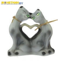 Копилка «Коты сердце» мини глянец серый