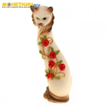 Копилка «Кошка Маркиза» средняя с китайскими розочками беж