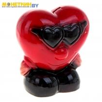 Копилка «Сердце в очках» красная
