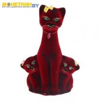 Копилка «Кошка с Котятами» бордовая