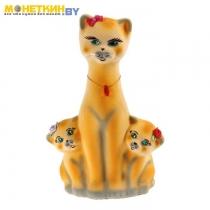 Копилка «Кошка с котятами» желтый