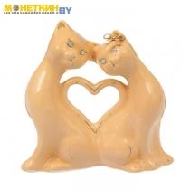 Копилка «Коты сердце» малая глазурь кремовая