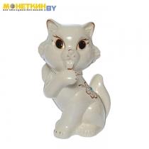 Копилка «Кошка с бантом» глянец, белый