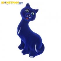 Копилка «Кошка молодая» васильковый