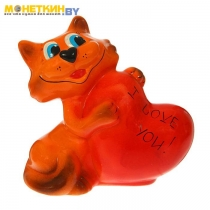 Копилка «Кот с сердцем» рыжий глянец