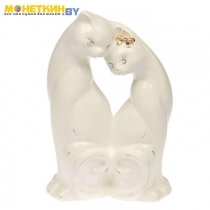Копилка «Коты любовь» глазурь белая