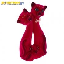 Копилка «Кот Семья» бордовый