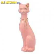 Копилка «Кошка Камила» средняя глазурь розовая цепочка