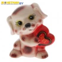 Копилка «Собака с сердцем» глянец белый