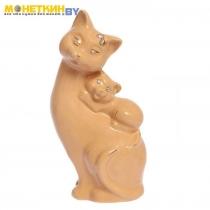 Копилка «Кошка мама» глазурь кремовая