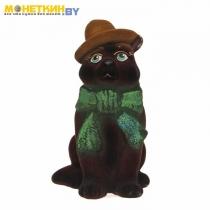 Копилка «Кот в шарфе» коричневый