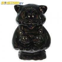 Копилка «Кошка с котятами в кармане» глазурь черная