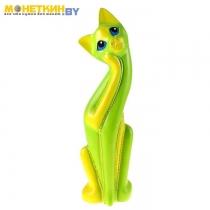 Копилка «Кошка Муся №6» зелено – жёлтая