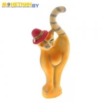 Копилка «Кошка в шляпе» оранжевая