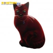 Копилка «Кошка Мурка» сидячая бордо
