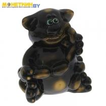 Копилка «Кот с сосиской» глянец черный задувка золото