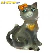 Копилка «Кошка Василиса» глянец серый